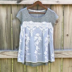 Rewind Swing Top w/ White Lace Overlay